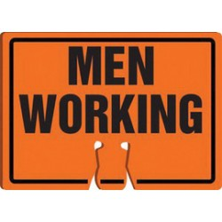 Accuform Signs - FBC754 - Accuform Signs 10 X 14 Black And Orange 0.060 Plastic Cone Top Warning Sign MEN WORKING, ( Each )