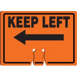 Accuform Signs - FBC776 - Accuform Signs 10 X 14 Black And Orange 0.060 Plastic Cone Top Warning Sign KEEP LEFT (With Arrow Graphic), ( Each )