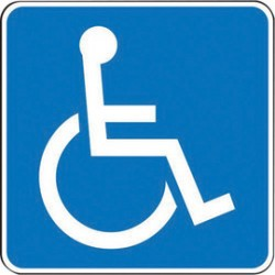 Accuform Signs - FRA205RA - Accuform Signs 24 X 24 White And Blue 0.080 Engineer Grade Reflective Aluminum State Specific ADA Access (New York And Texas) Handicap Parking Sign HANDICAP GRAPHIC