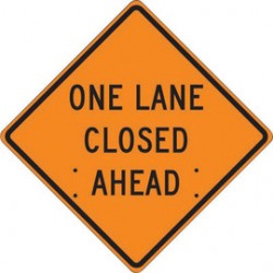 Accuform Signs - FRC314MV - Accuform Signs 36 X 36 Black And Orange Mesh Vinyl Roll-Up Construction Sign ONE LANE CLOSED AHEAD, ( Each )