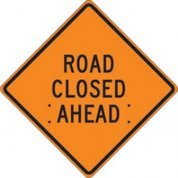 Accuform Signs - FRC318RV - Accuform Signs 36 X 36 Black And Orange Reflective Vinyl Roll-Up Construction Sign ROAD CLOSED AHEAD, ( Each )