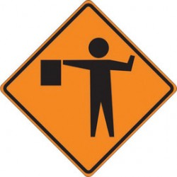 Accuform Signs - FRC412MV - Accuform Signs 48 X 48 Black And Orange Mesh Vinyl Roll-Up Construction Sign (FLAGMAN SYMBOL), ( Each )
