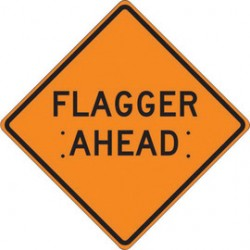 Accuform Signs - FRC415MV - Accuform Signs 48 X 48 Black And Orange Mesh Vinyl Roll-Up Construction Sign FLAGGER AHEAD, ( Each )