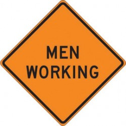 Accuform Signs - FRC417RV - Accuform Signs 48 X 48 Black And Orange Reflective Vinyl Roll-Up Construction Sign MEN WORKING, ( Each )