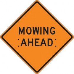 Accuform Signs - FRC421MV - Accuform Signs 48 X 48 Black And Orange Mesh Vinyl Roll-Up Construction Sign MOWING AHEAD, ( Each )