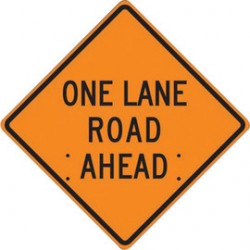 Accuform Signs - FRC422RV - Accuform Signs 48 X 48 Black And Orange Reflective Vinyl Roll-Up Construction Sign ONE LANE ROAD AHEAD, ( Each )