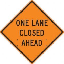 Accuform Signs - FRC423MV - Accuform Signs 48 X 48 Black And Orange Mesh Vinyl Roll-Up Construction Sign ONE LANE CLOSED AHEAD, ( Each )