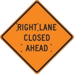 Accuform Signs - FRC424MV - Accuform Signs 48 X 48 Black And Orange Mesh Vinyl Roll-Up Construction Sign RIGHT LANE CLOSED AHEAD, ( Each )