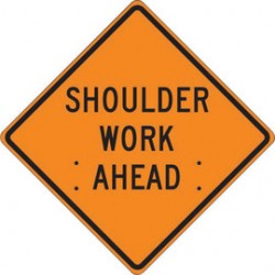 Accuform Signs - FRC430MV - Accuform Signs 48 X 48 Black And Orange Mesh Vinyl Roll-Up Construction Sign SHOULDER WORK AHEAD, ( Each )