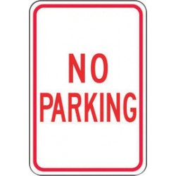 Accuform Signs - FRP110RA - Accuform Signs 18' X 12' Red And White 0.080' Engineer Grade Reflective Aluminum Sign 'NO PARKING', ( Each )
