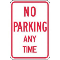 Accuform Signs - FRP114RA - Accuform Signs FRP114RA 18 X 12 Red And White 0.080 Engineer Grade Reflective Aluminum Sign NO PARKING ANY TIME, ( Each )