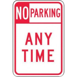 Accuform Signs - FRP115RA - Accuform Signs FRP115RA 18 X 12 Red And White 0.080 Engineer Grade Reflective Aluminum Sign NO PARKING ANY TIME, ( Each )