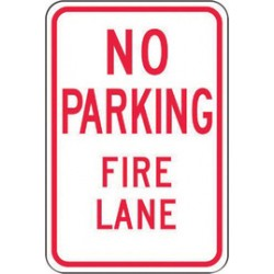 Accuform Signs - FRP127RA - Accuform Signs 18 X 12 Red And White 0.080 Engineer Grade Reflective Aluminum Sign NO PARKING FIRE LANE (With Arrows), ( Each )