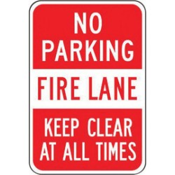 Accuform Signs - FRP132RA - Accuform Signs 18 X 12 Red And White 0.080 Engineer Grade Reflective Aluminum Sign NO PARKING FIRE LANE KEEP CLEAR AT ALL TIMES, ( Each )