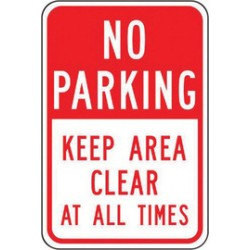 Accuform Signs - FRP168RA - Accuform Signs 18' X 12' Red And White 0.080' Engineer Grade Reflective Aluminum Sign 'NO PARKING KEEP AREA CLEAR AT ALL TIMES', ( Each )