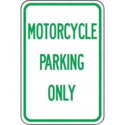 Accuform Signs - FRP216RA - Accuform Signs 18 X 12 Green And White 0.080 Engineer Grade Reflective Aluminum Designated Parking Sign MOTORCYCLE PARKING ONLY, ( Each )