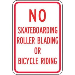 Accuform Signs - FRP258RA - Accuform Signs 18 X 12 Red And White 0.080 Engineer Grade Reflective Aluminum Designated Parking Sign NO SKATEBOARDING ROLLER BLADING OR BICYCLE RIDING, ( Each )