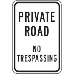 Accuform Signs - FRP292RA - Accuform Signs 18 X 12 Black And White 0.080 Engineer Grade Reflective Aluminum Designated Parking Sign PRIVATE ROAD NO TRESPASSING, ( Each )