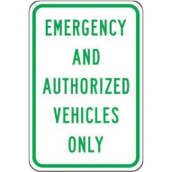 Accuform Signs - FRP295RA - Accuform Signs 18 X 12 Green And White 0.080 Engineer Grade Reflective Aluminum Designated Parking Sign EMERGENCY AND AUTHORIZED VEHICLES ONLY, ( Each )