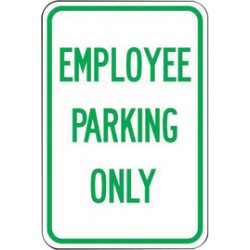 Accuform Signs - FRP298RA - Accuform Signs 18 X 12 Green And White 0.080 Engineer Grade Reflective Aluminum Designated Parking Sign EMPLOYEE PARKING ONLY, ( Each )