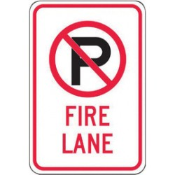 Accuform Signs - FRP405RA - Accuform Signs 18 X 12 Black, Red And White 0.080 Engineer Grade Reflective Aluminum Sign (NO PARKING SYMBOL) FIRE LANE, ( Each )