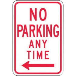 Accuform Signs - FRP716RA - Accuform Signs 18 X 12 Red And White 0.080 Engineer Grade Reflective Aluminum Sign NO PARKING ANY TIME (With Double Arrow), ( Each )