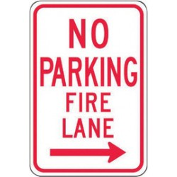 Accuform Signs - FRP833RA - Accuform Signs 18 X 12 Red And White 0.080 Engineer Grade Reflective Aluminum Sign NO PARKING FIRE LANE (With Right Arrow), ( Each )