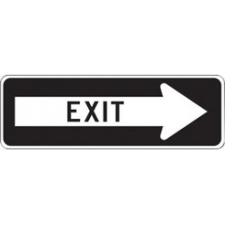 Accuform Signs - FRR296RA - Accuform Signs 12 X 36 Black And White 7 mils Engineer Grade Reflective Aluminum Facility Traffic Sign EXIT (With Right Arrow), ( Each )