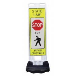 Accuform Signs - FRT405 - Accuform Signs 53 1/2 Black, Red, White And Yellow In-Street Pedestrian Crossing Traffic Sign STATE LAW STOP FOR PEDESTRIANSIN CROSSWALK, ( Each )
