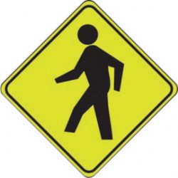 Accuform Signs - FRW204 - Accuform Signs 30 X 30 Black And Yellow 0.080 DG High Prism Aluminum FYG Traffic Sign PED CROSSING PICTORIAL, ( Each )