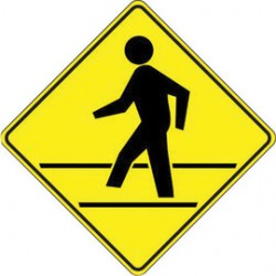 Accuform Signs - FRW427RA - Accuform Signs 24 X 24 Black And Yellow 7 mils Engineer Grade Reflective Aluminum Crossing Sign (PEDESTRIAN CROSSING SYMBOL), ( Each )