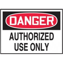 Accuform Signs - LADM006VSP - Accuform Signs 3 1/2 X 5 Red, Black And White 4 mil Adhesive Vinyl Admittance And Exit Safety Label DANGER AUTHORIZED USE ONLY (5 Per Pack), ( Package )