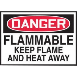 Accuform Signs - LCHL010VSP - Accuform Signs 3 1/2 X 5 Red, Black And White 4 mil Adhesive Vinyl Chemical And Hazardous Safety Label DANGER FLAMMABLE KEEP FLAME AND HEAT AWAY (5 Per Pack), ( Package )