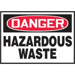 Accuform Signs - LCHL016VSP - Accuform Signs 3 1/2 X 5 Red, Black And White 4 mil Adhesive Vinyl Chemical And Hazardous Safety Label DANGER HAZARDOUS WASTE (5 Per Pack), ( Package )