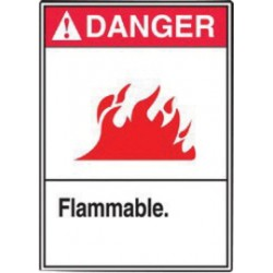Accuform Signs - LCHL130VSP - Accuform Signs 5 X 3 1/2 Red, Black And White 4 mil Adhesive Vinyl Chemical And Hazardous Safety Label DANGER FLAMMABLE (With Graphic) (5 Per Pack), ( Each )