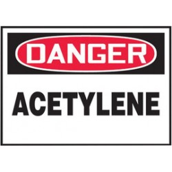 Accuform Signs - LCHL146XVE - Accuform Signs 3 1/2 X 5 Red, Black And White 6 mil Adhesive Dura-Vinyl Chemical And Hazardous Safety Label DANGER ACETYLENE, ( Each )