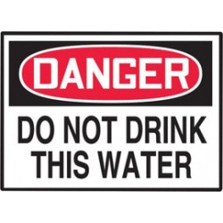 "Accuform Signs - LCHL152VSP-EA - Accuform Signs 3 1/2"" X 5"" Red, Black And White 4 mil Adhesive Vinyl Chemical And Hazardous Safety Label ""DANGER DO NOT DRINK THIS WATER"" (10 Per Pack), ( Each )"