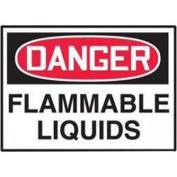 Accuform Signs - LCHL155XVE - Accuform Signs 3 1/2 X 5 Red, Black And White 6 mil Adhesive Dura-Vinyl Chemical And Hazardous Safety Label DANGER FLAMMABLE LIQUIDS, ( Each )