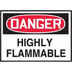 Accuform Signs - LCHL158XVE - Accuform Signs 3 1/2 X 5 Red, Black And White 6 mil Adhesive Dura-Vinyl Chemical And Hazardous Safety Label DANGER HIGHLY FLAMMABLE, ( Each )
