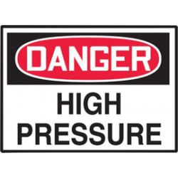 Accuform Signs - LCHL159VSP - Accuform Signs 3 1/2 X 5 Red, Black And White 4 mil Adhesive Vinyl Chemical And Hazardous Safety Label DANGER HIGH PRESSURE (5 Per Pack), ( Package )