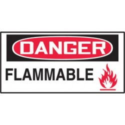 Accuform Signs - LCHL285VSP-EA - Accuform Signs 3 1/2 X 5 Red, Black And White 4 mil Adhesive Vinyl English Self-Stick Chemical And Hazardous Safety Label DANGER FLAMMABLE (5 Per Pack), ( Each )