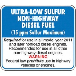 Accuform Signs - LCHL592 - Accuform Signs 3 1/4 X 3 3/4 Red, Black, Blue And White 6 mil Adhesive Dura-Vinyl Diesel Pump Label ULTRA-LOW SULFUR NON-HIGHWAY DIESEL FUEL, ( Each )