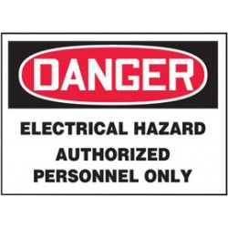 Accuform Signs - LELC023XVE - Accuform Signs 3 1/2 X 5 Red, Black And White 6 mil Adhesive Dura-Vinyl Electrical Safety Label DANGER ELECTRICAL HAZARD AUTHORIZED PERSONNEL ONLY, ( Each )