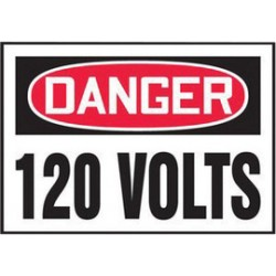 Accuform Signs - LELC153XVE - Accuform Signs 3 1/2 X 5 Red, Black And White 6 mil Adhesive Dura-Vinyl Electrical Safety Label DANGER 120 VOLTS, ( Each )