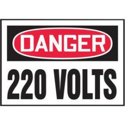 Accuform Signs - LELC157VSP - Accuform Signs 3 1/2 X 5 Red, Black And White 4 mil Adhesive Vinyl Electrical Safety Label DANGER 220 VOLTS (5 Per Pack), ( Package )
