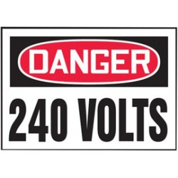 Accuform Signs - LELC159VSP - Accuform Signs 3 1/2 X 5 Red, Black And White 4 mil Adhesive Vinyl Electrical Safety Label DANGER 240 VOLTS (5 Per Pack), ( Package )