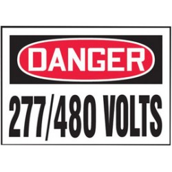 Accuform Signs - LELC161VSP - Accuform Signs 3 1/2 X 5 Red, Black And White 4 mil Adhesive Vinyl Electrical Safety Label DANGER 277/480 VOLTS (5 Per Pack), ( Package )