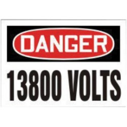Accuform Signs - LELC169XVE - Accuform Signs 3 1/2 X 5 Red, Black And White 6 mil Adhesive Dura-Vinyl Electrical Safety Label DANGER 13800 VOLTS, ( Each )