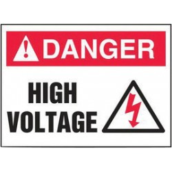 Accuform Signs - LELC176VSP-PK - Accuform Signs 3 1/2 X 5 Red, Black And White 4 mil Adhesive Vinyl Electrical Safety Label DANGER HIGH VOLTAGE (With Graphic) (5 Per Pack), ( Pack of 5 )