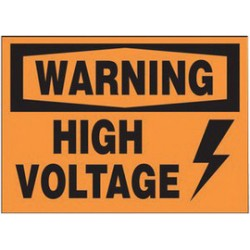 Accuform Signs - LELC328VSP - Accuform Signs 3 1/2 X 5 Black And Orange 4 mil Adhesive Vinyl Electrical Safety Label WARNING HIGH VOLTAGE (With Graphic) (5 Per Pack), ( Package )